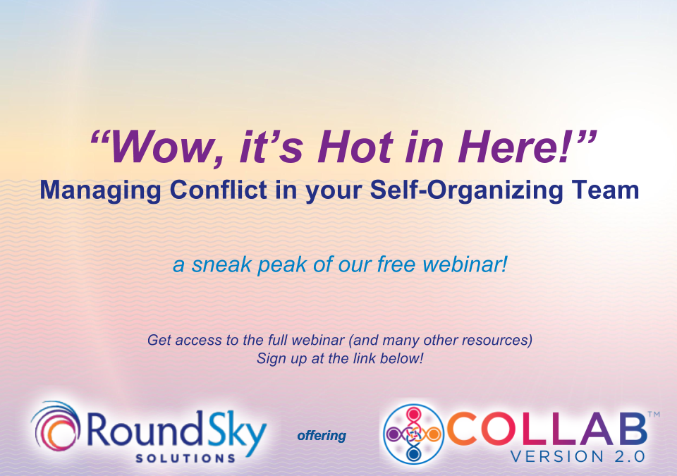 "FREE Webinar →""Wow, it's Hot in Here!"": Managing Conflict in your Self-Organizing Team"